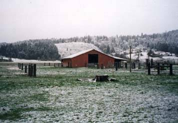 Our farm after a light snow